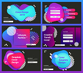 Set of web page design templates for business Prism color of the rainbow in a bright and geometric multi-colored bubbles and fluid shapes, Vector illustration