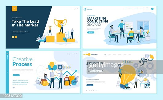 Set of web page design templates for creative process, business success and teamwork, marketing consulting : stock vector