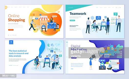 Set of web page design templates for online shopping, digital marketing, teamwork, business strategy and analytics : Vector Art