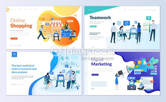 Set of web page design templates for online shopping, digital marketing, teamwork, business strategy and analytics : stock vector