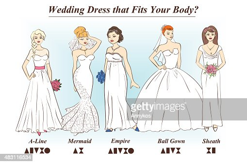 Set Of Wedding Dress Styles For Female Body Shape Types Vector Art