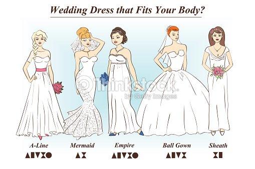 Set Of Wedding Dress Styles For Female Body Shape Types Vector Art