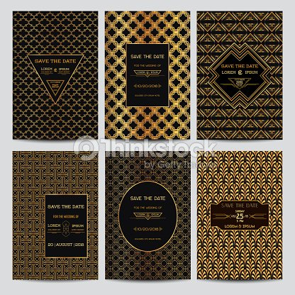 Set of wedding invitation cards art deco vintage style for Style retro deco