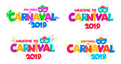 Set of Welcome to Carnival 2019. Handwritten Carnival logo with masks. Party, masquerade poster card, invitation. Celebration decorate. Vector illustration. Isolated on white background.