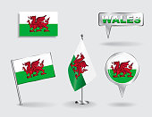 Set of Welsh pin, icon and map pointer flags. Vector illustration.