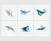 Collection of marine mammals symbol decorations. Set of whales with colorful geometric polygons, triangle, circle and cubic shape designs
