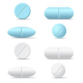 Set of white and blue round and oval medicine pills of various kinds, isolated vector on white background with shadow