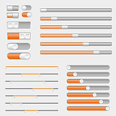 Set of white and orange interface buttons, sliders. Vector 3d illustration