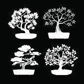 Set of White Bonsai Trees. Vector Illustration.