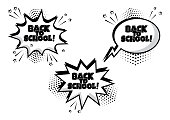 Set of white comic bubble with BACK TO SCHOOL word. Comic sound effects in pop art style. Vector illustration.