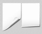 Set of white sheet of paper with bent corner, isolated on transparent background - vector