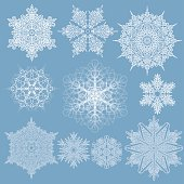 Collection of ten different shape and size snowflakes on a blue background. File contain EPS8 and large JPEG.