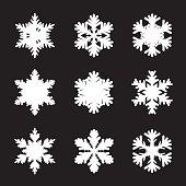 Set of white snowflakes. Graphic Elements.