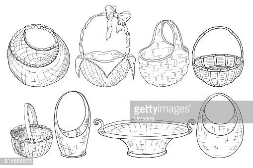 set of wicker baskets. Figure a liner. Hand drawing. Vector : stock vector