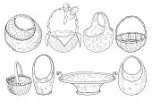 set of wicker baskets. Figure a liner. Hand drawing. Vector