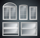 set of window frames showcase isolated on transparent background
