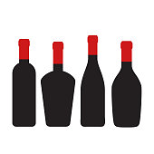 Set of wine bottles for design on white, stock vector illustration