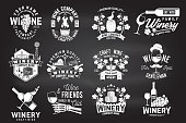 Set of wine company badge, sign or label. Vector illustration on the chalkboard. Vintage design for winery company, bar, pub, shop, branding and restaurant business. Coaster for wine glasses