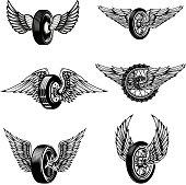 Set of winged car tires on white background. Design elements for label, emblem, sign.Vector illustration
