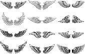 Set of wings illustrations isolated on white background. Design element for  label, emblem, sign. Vector illustration