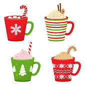 Set of winter holiday cup with hot drink. Vector illustration