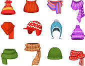 Set of winter scarfs and caps with different colors and styles. Winter cap clothes, fashion accessory clothing knitted, vector illustration