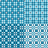 Set of winter seamless patterns with tartan and snowflakes. Vector backgrounds, textures.
