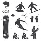 Set of winter sports equipment, skier and snowboarders silhouettes. Vector illustration. Collection include helmet, snowboard, glasses, boots and gloves.