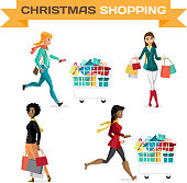 Set of women with shopping bags on Black Friday, the day before Christmas. Cartoon style vector illustration isolated on white background