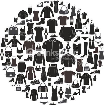 f9ee19ae3 Conjunto de feminino e masculino ícones de vestuário. Acessórios.   arte  vetorial