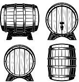 Set of wood barrels illustration isolated on white background. Design elements for label, emblem, sign. Vector illustration