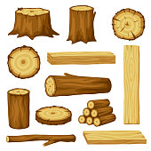 Set of wood logs for forestry and lumber industry. Illustration of trunks, stump and planks.