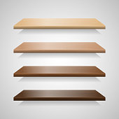 Set of wood shelves with shadows. Wooden interior bookshelf collection, vector illustration