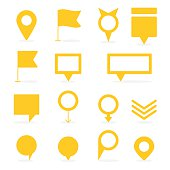 Set of yellow isolated pointers and markers different shapes with shadow vector