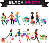 Set of young women shopping on the day of Black Friday sales. Flat cartoon vector illustration