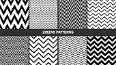 Set of zigzag patterns/ Graphic stylish seamless vector backgrounds/ Classic patterns