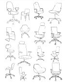 Set office chairs isolated on white background. Sketch different chairs.Vector illustration