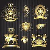 Collection of eight heraldic elements with gold gradient composed of various animals such as lions with wings, eagle, various shields, banners ,crowns and sword on striped black background.