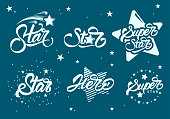 Set or collection of super stars s with lettering. Hero. Vector illustration design.