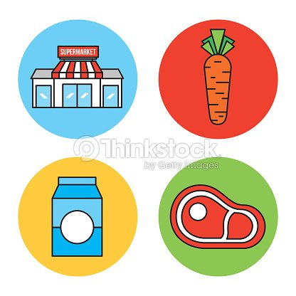 Set or design elements relating to supermarket food drink and other items