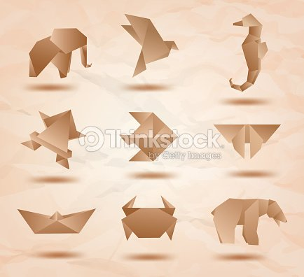 Set Origami Animals Symbols Recycled Paper Vector Art Thinkstock