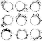 Collection of nine simple circle shaped frames decorated with different forms and design swirl floral ornaments.File contain EPS8 and large JPEG.
