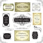 Collection of different ornate retro frame label design. File contain EPS8 and large JPEG.