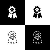 Set Pet award symbol icons isolated on black and white background. Badge with dog or cat paw print and ribbons. Medal for animal. Vector Illustration