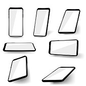 Set phones at different angles. Vector illustration.