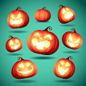 Collection of Halloween pumpkins.