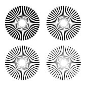 Set rays, beams element. Collection starburst shape. Radiating, radial, merging lines. isolated on white background. Vector illustration. Eps 10