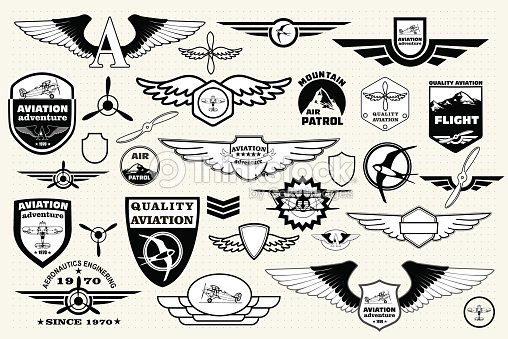 Set Retro Emblems Design Elements Badges And Logo Aviation