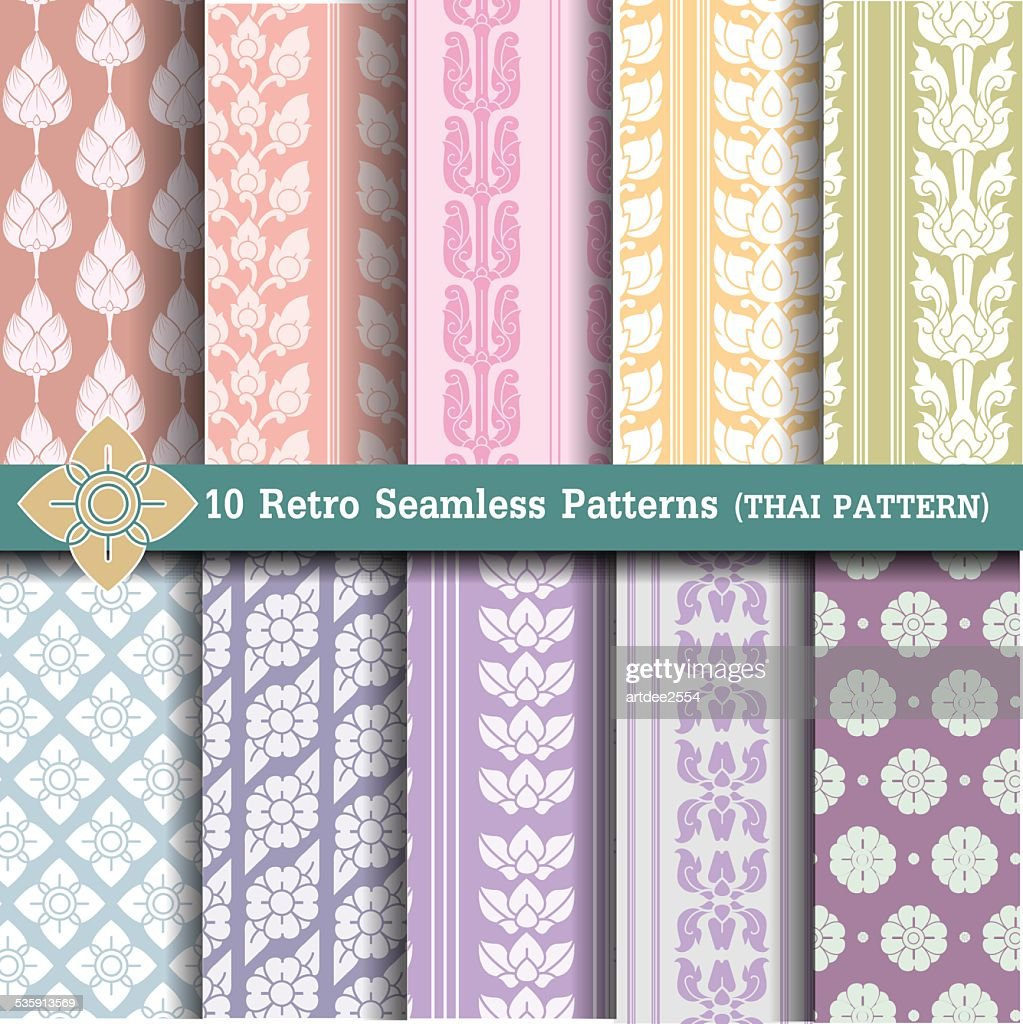 Set Retro Seamless Patterns.thai pattern : Vector Art