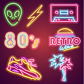 Set retrowave neon sign. Neon sign, bright signboard, light banner. Vector icons